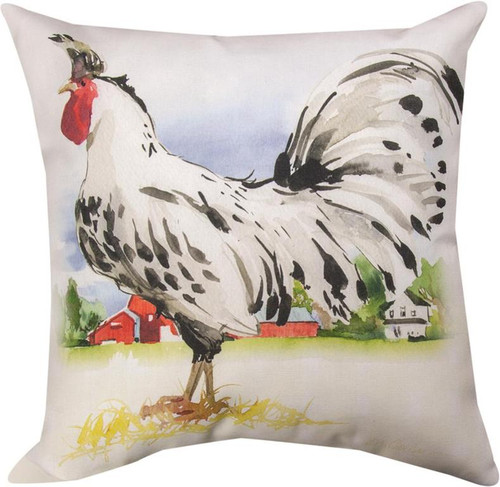 Farmland Rooster Black and White Appenzeller Spitzhauben Pillow