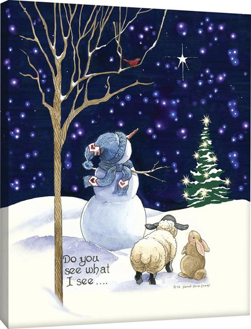 Do You See What I See Snowman Fiber Optic Canvas With Remote