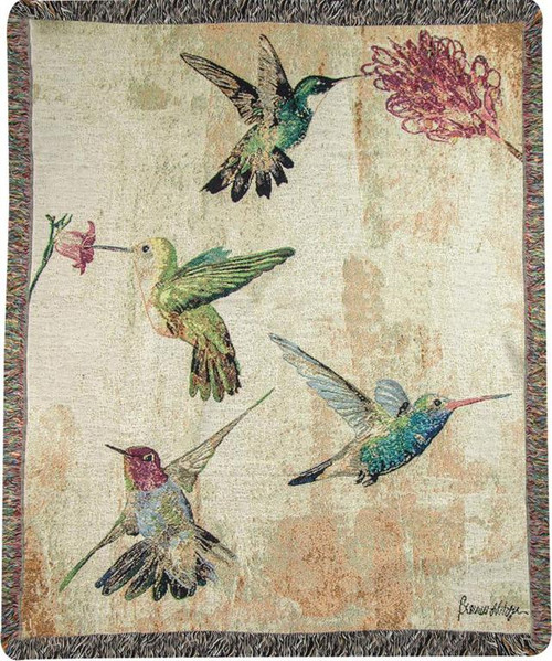 Hummingbird Floral Cotton Tapestry Throw