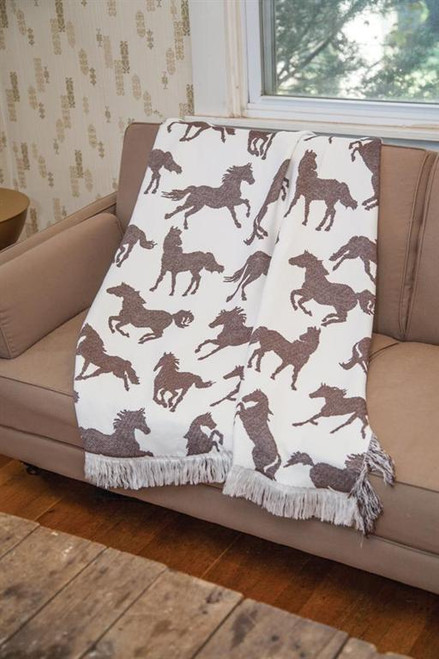 Horses Brown Tapestry Throw