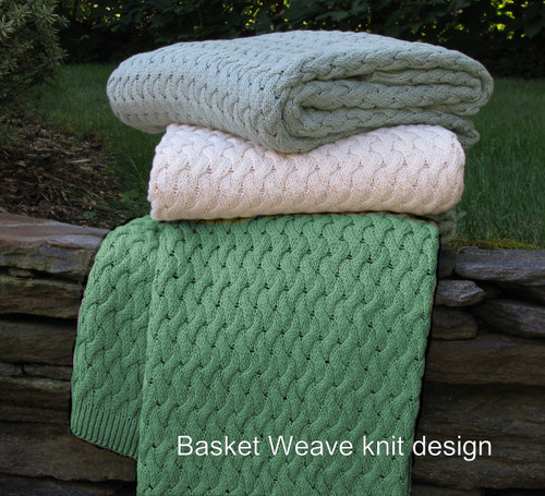 Solid Color Basket Weave Knitted Cotton Throw
