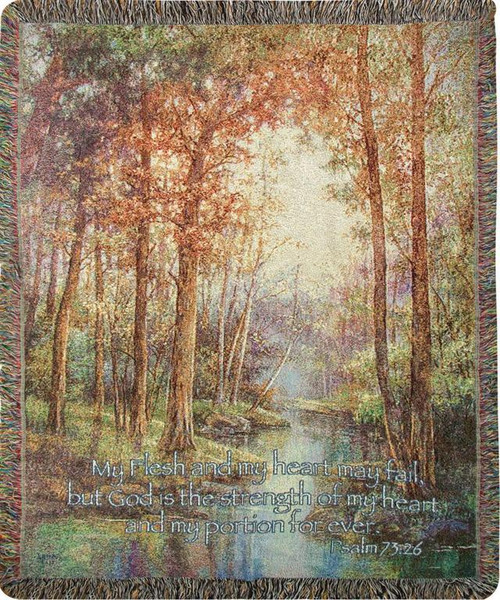 Natures Tranquility Throw with Scripture Psalm 73:26
