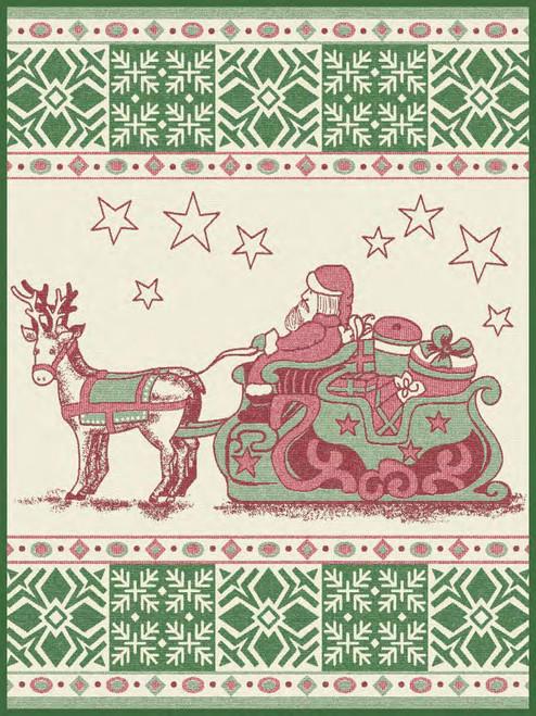 Ibena Santas Sleigh Vintage Style Throw Blanket