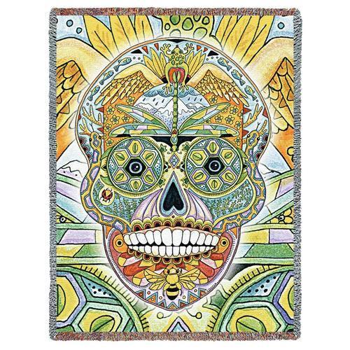 Sugar Skull Pacific Northwest Totem Blanket by Sue Coccia