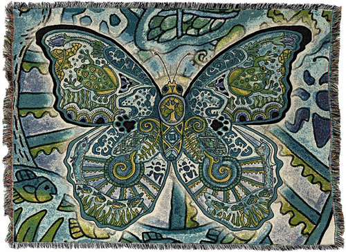 Blue Morpho Butterfly PNW Totem Blanket by Sue Coccia