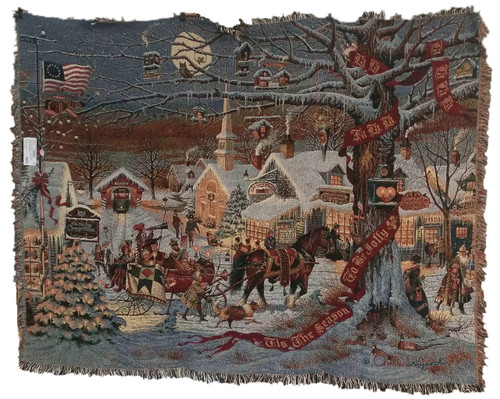 Small Town Christmas Tapestry Throw by Charles Wysocki