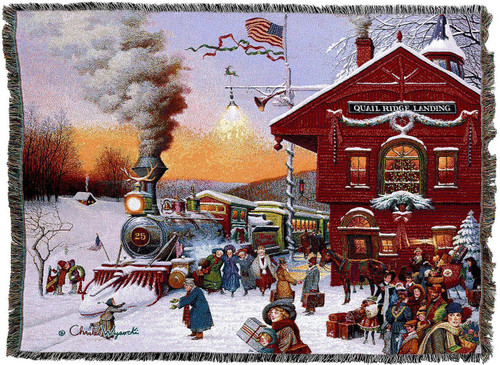 Whistlestop Christmas Train Throw by Charles Wysocki