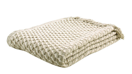 Taupe and Natural Twill Weave Cotton Throw Blanket