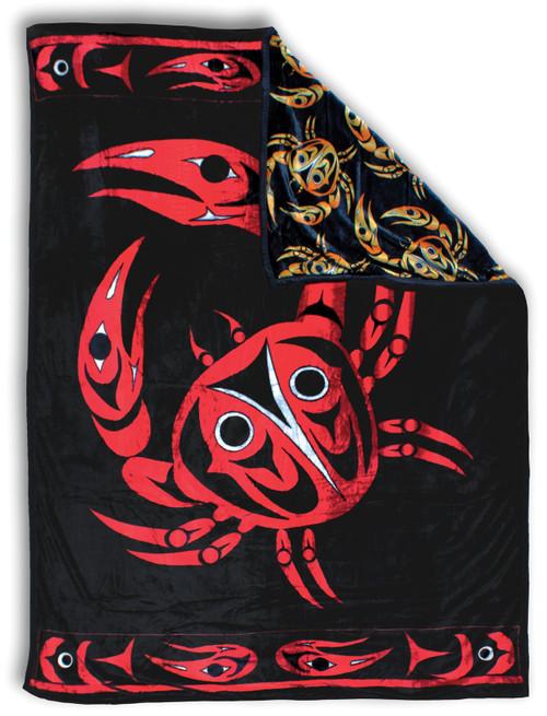Coastal Crab Plush Double Sided Fleece Blanket