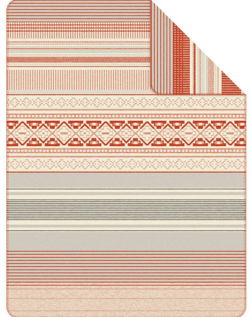 Ibena s.Oliver Orange Southwestern Stripe Blanket