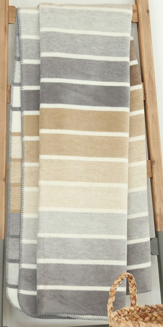 Ibena Belmont Stripe Ivory Neutral Throw Blanket
