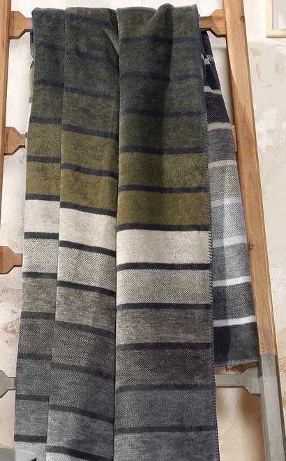 Ibena Belmont Stripe Green Throw Blanket