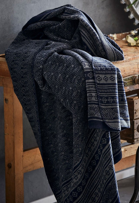 Ibena Basel Exquisite Navy Blue Throw Blanket