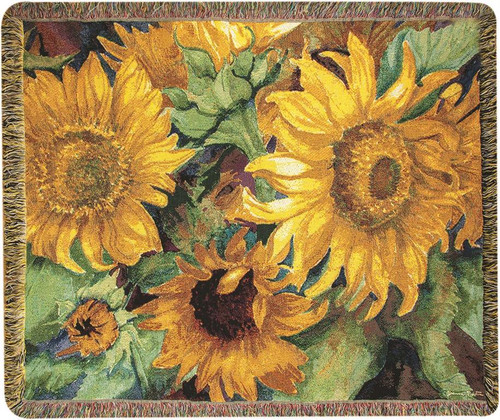 Sunny Faces Sunflower Cotton Tapestry Throw