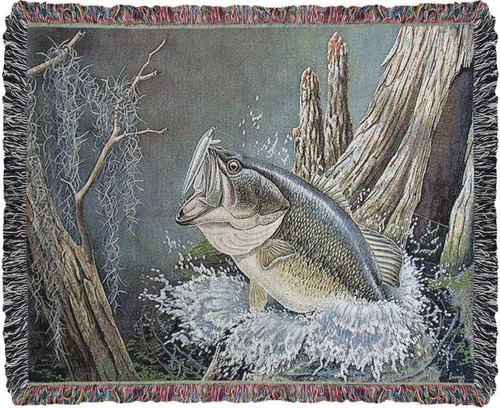 Large Mouth Bass Fish Cotton Tapestry Throw