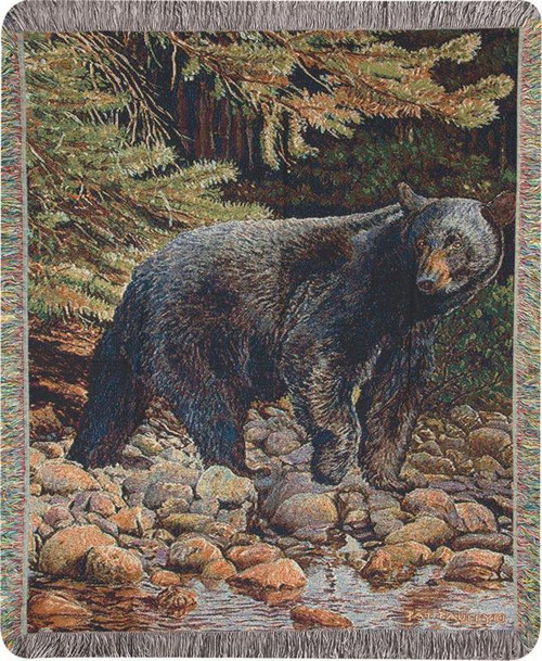 Leading The Way Black Bear Tapestry Throw