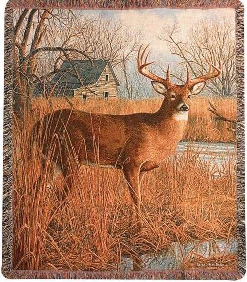 His Side of the River Buck Deer Throw Blanket