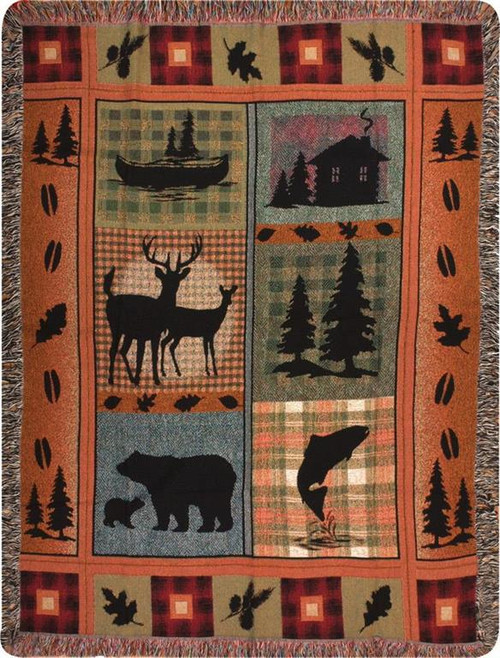 Bear Lodge Cabin Throw Blanket