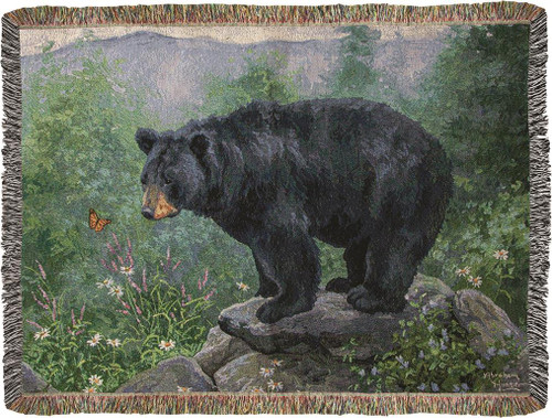 Butterfly Watching Bear Throw Blanket