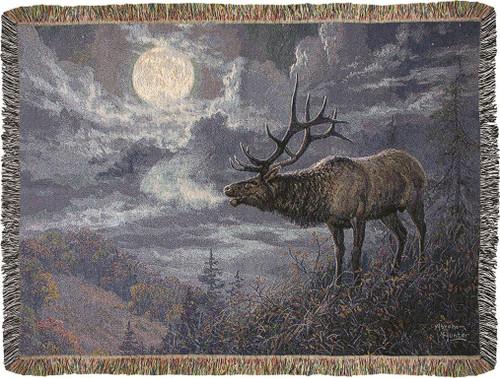 Native Song Bull Elk Throw Blanket