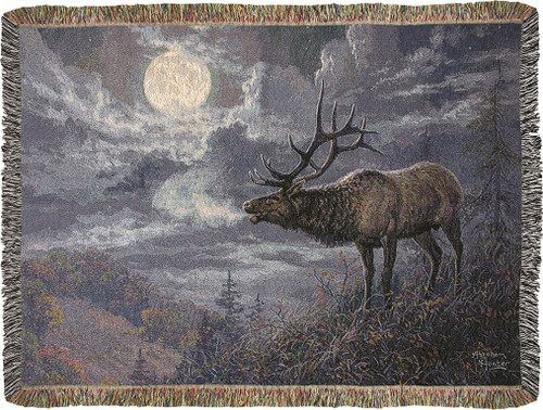 Native Song Bull Elk Throw Blanket