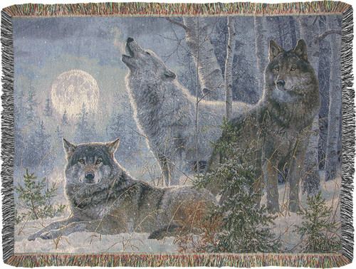 Winter Moonrise Wolf Throw Blanket