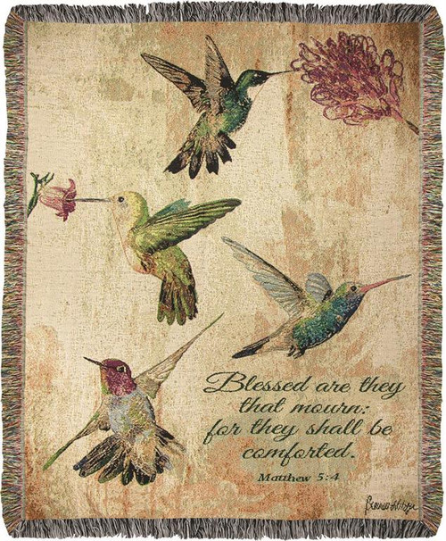 Hummingbird Floral Cotton Tapestry Throw with Scripture