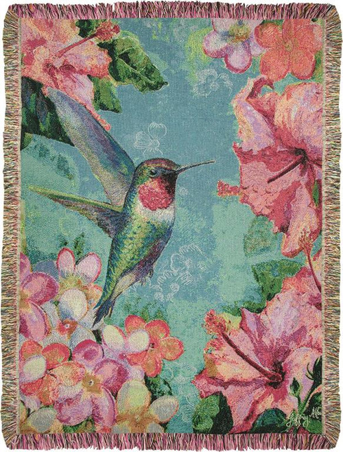 Hummingbird Hibiscus Throw Blanket