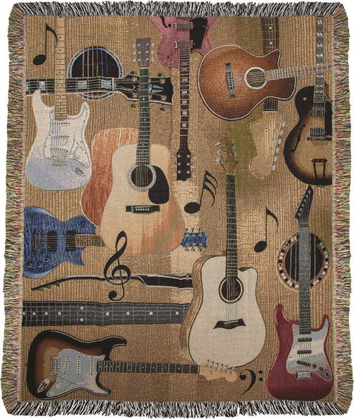 Guitar Collage Tapestry Throw