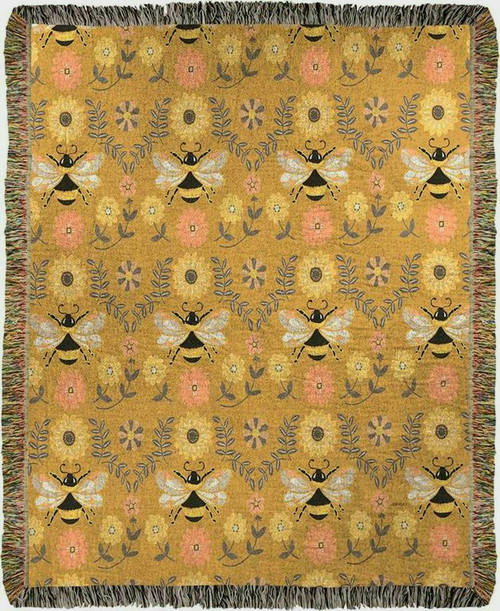 Honey and Hive Honeybee Mini Tapestry Throw