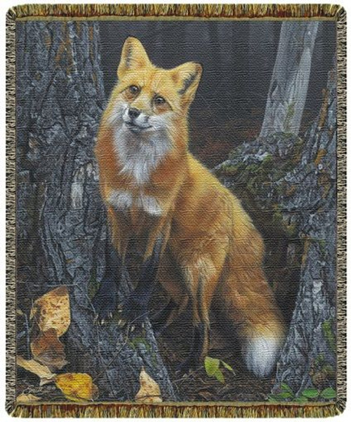 Resounding Red Fox Cotton Tapestry Throw