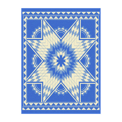 Ibena Quilting Star Blue Throw Blanket