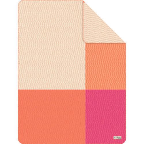 Ibena Orange Pink Color Block Throw Blanket