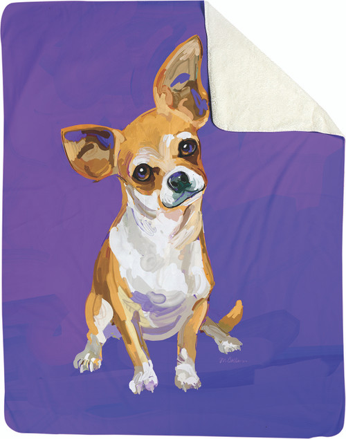 Peanut The Chihuahua Sherpa Fleece Throw Blanket