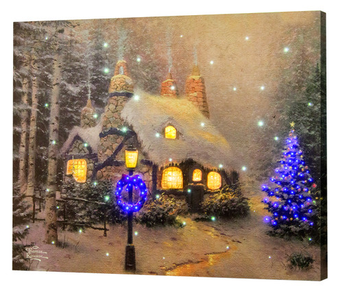 Thomas Kinkade Stonehearth Hutch Lighted Canvas With Remote