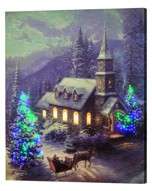 Thomas Kinkade Christmas Sleigh Ride Lighted Canvas With Remote