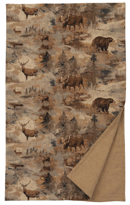 Wooded River Daybreak Moose Bear Deer Throw Blanket