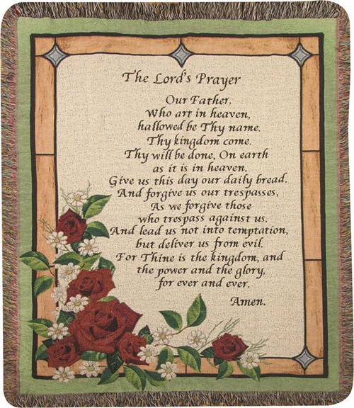 Stained Glass Lords Prayer Tapestry Throw  by Manual Woodworkers and Weavers