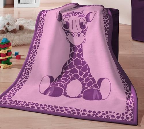 Biederlack Kids Giraffe Pink Blanket