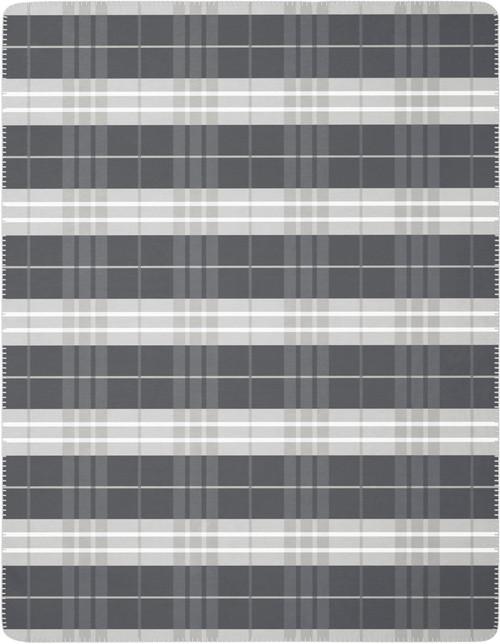 Biederlack Continuous Grey Plaid Blanket