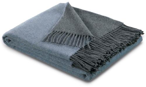 Biederlack 80% Wool 20% Cashmere Blue and Grey Throw