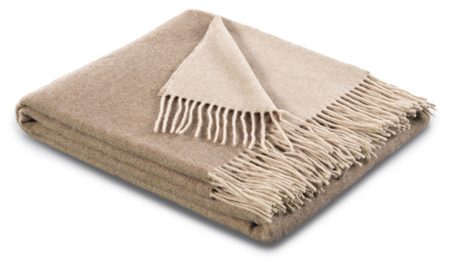 Biederlack 80% Wool 20% Cashmere Natural and Sand Throw