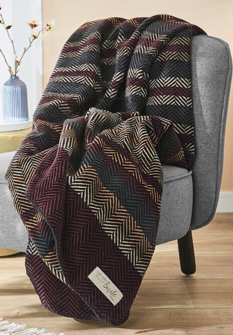 Ibena S Oliver Burgundy Herringbone Stripe Blanket