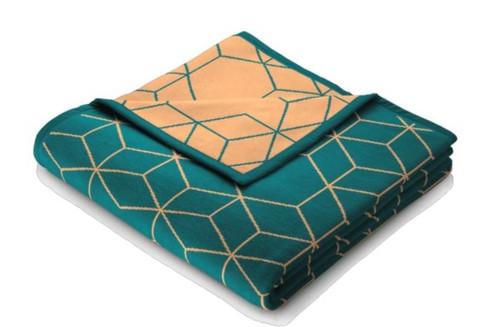 Biederlack Cubes Teal Blanket