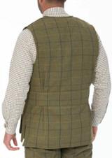 Alan Paine Rutland Tweed shooting waistcoat in dark moss colour.