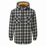 Castle Fort Sherpa lined fleece hooded shirt in blue check pattern