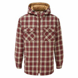 Castle Clothing Fort Penarth hooded shirt with fleece sherpa lining in red check pattern