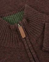 Hoggs of Fife Lothian Jumper in Redwood, men's zip neck knitted jumper