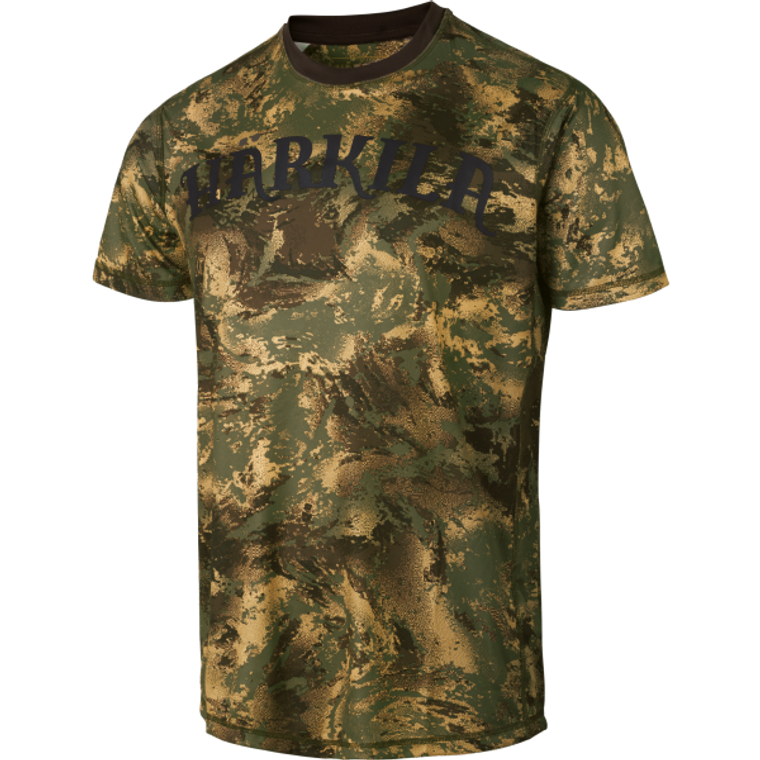 Harkila Lynx short sleeve top in forest green axis msp camouflage, made from quick drying and breathable fabric