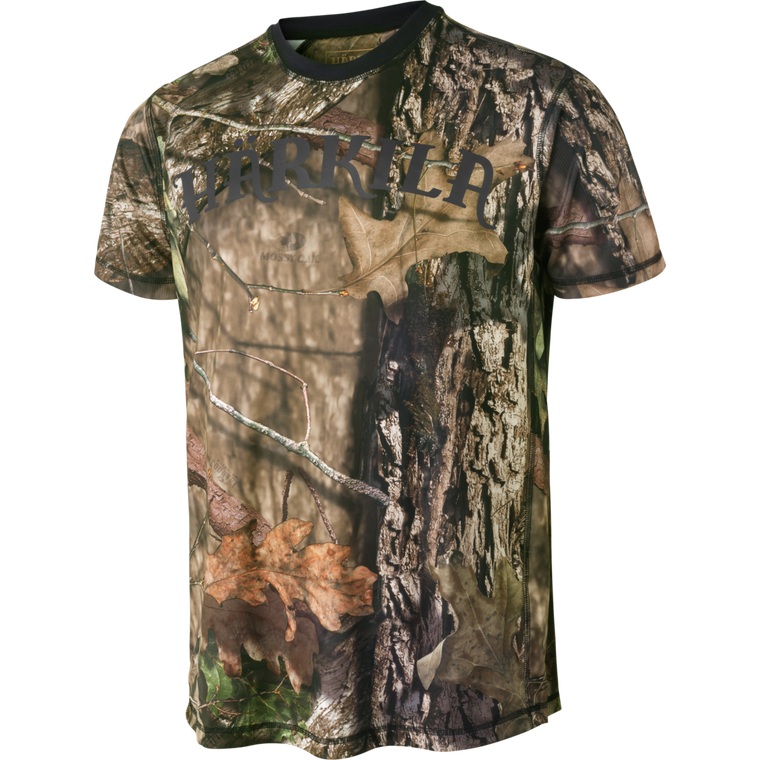 Harkila Moose Hunter short sleeve t shirt in mossy oak camouflage, made from quick drying material